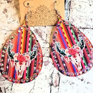 Jewelry - Serape steerhead cowskull western drop earrings